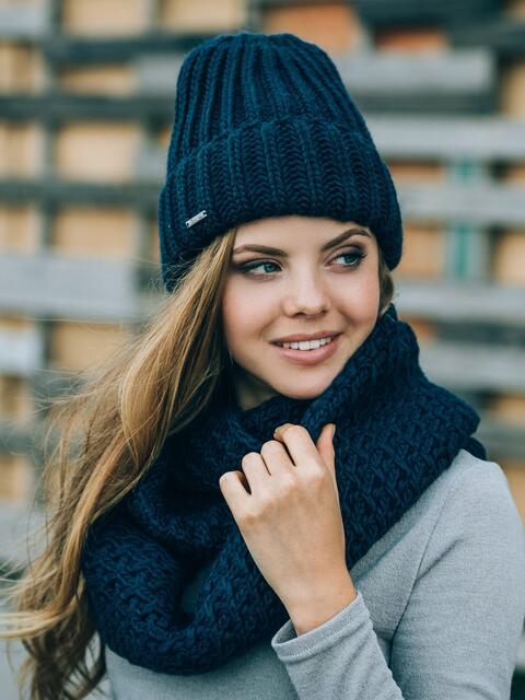 Тёмно-синяя шапка без подкладки - 14751, фото 1 – интернет-магазин Dressa