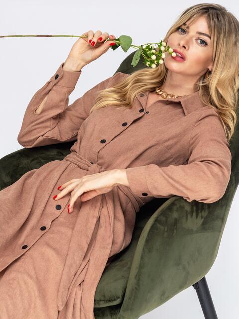 Вельветовое платье-рубашка бежевое - 44859, фото 1 – интернет-магазин Dressa