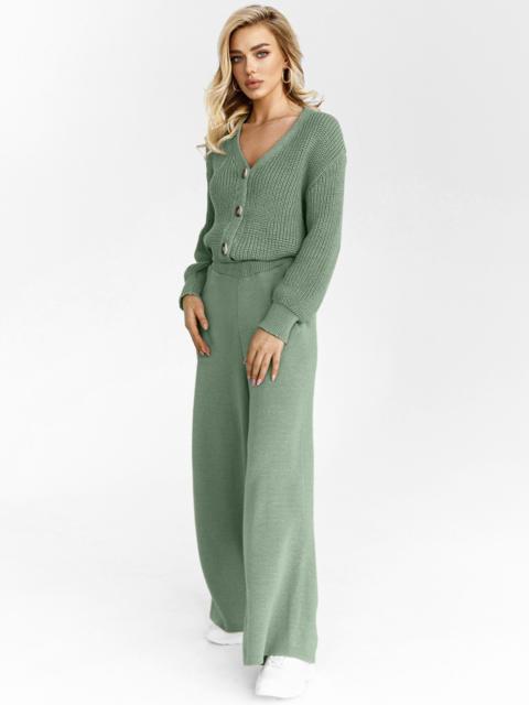Вязаный костюм зелёного цвета из кофты и брюк 54925, фото 1