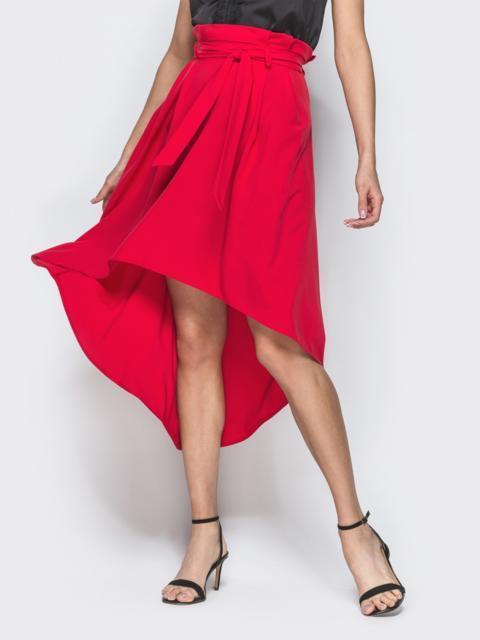 Юбка-полусолнце из софта со шлейфом красная - 38576, фото 1 – интернет-магазин Dressa