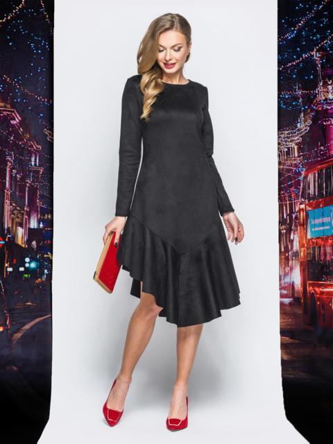 Замшевое платье черного цвета с воланом по низу - 18162, фото 1 – интернет-магазин Dressa