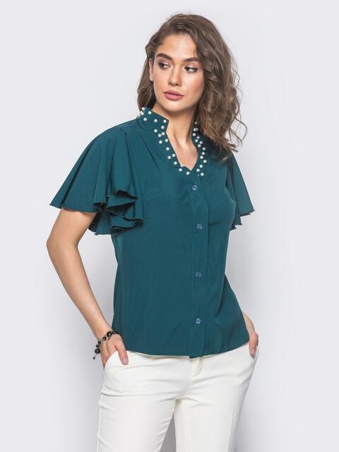 Зеленая блузка с V-образной горловиной и рукавом-крылышко - 10087, фото 1 – интернет-магазин Dressa
