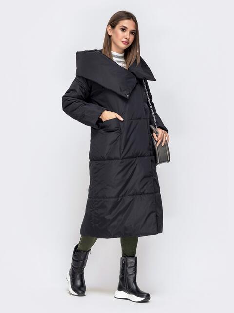 Зимняя куртка со вшитым капюшоном и вязанными манжетами чёрная 41248, фото 1