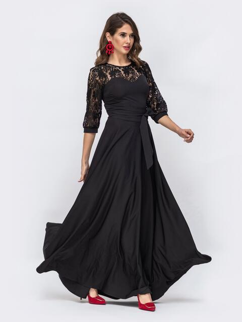 Чёрное платье с кружевом на кокетке и рукавах 43199, фото 1