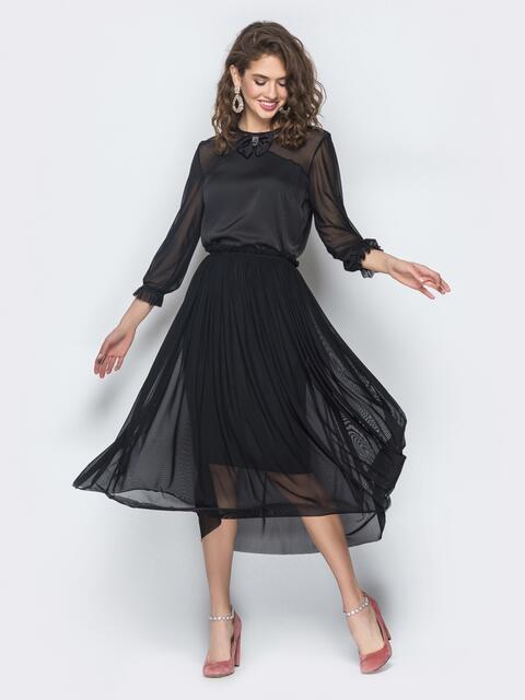 Черное платье-трансформер со съемной юбкой - 18664, фото 1 – интернет-магазин Dressa
