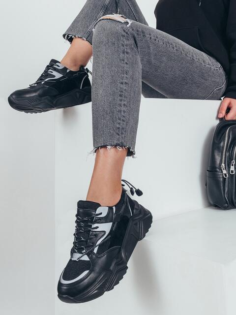 Чёрные кроссовки с контрастной вставкой 51260, фото 1