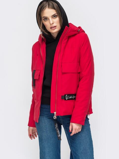 Демисезонная куртка с капюшоном и накладными карманами красная - 45164, фото 1 – интернет-магазин Dressa