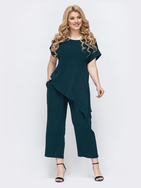 Комплект батал из асимметричной блузки и брюк зеленый - 46267, фото 1 – интернет-магазин Dressa