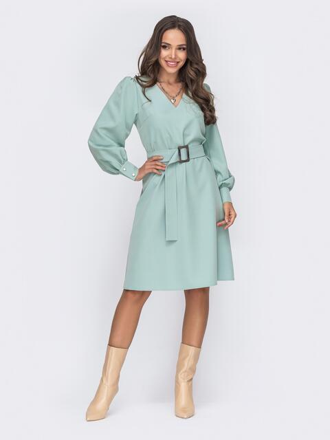 Мятное платье с расклешенной юбкой 50774, фото 1