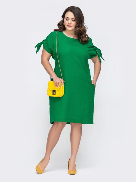 Платье батал свободного кроя зеленое 46277, фото 1