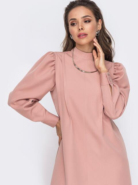 Платье-трапеция с буфами на рукавах розовое 50771, фото 1