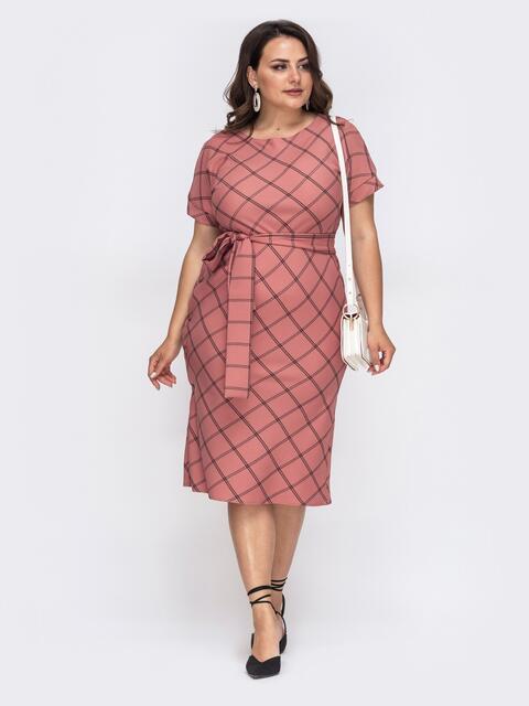 Приталенное платье большого размера в клетку розовое 49956, фото 1