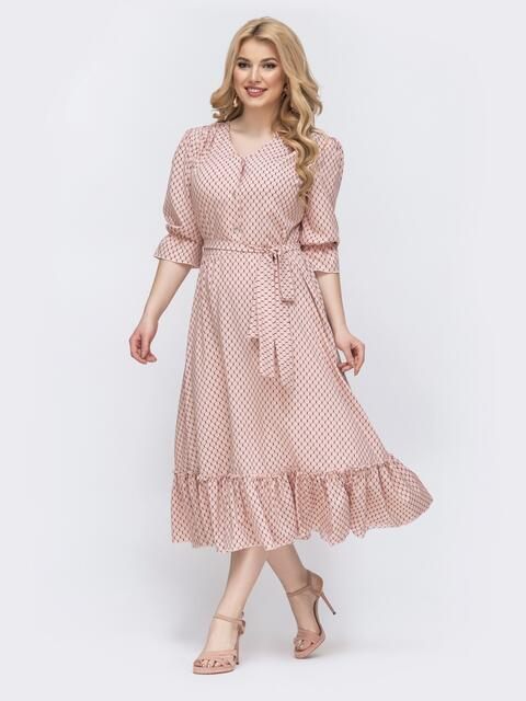 Пудровое платье батал с принтом и расклешенной юбкой - 46276, фото 1 – интернет-магазин Dressa