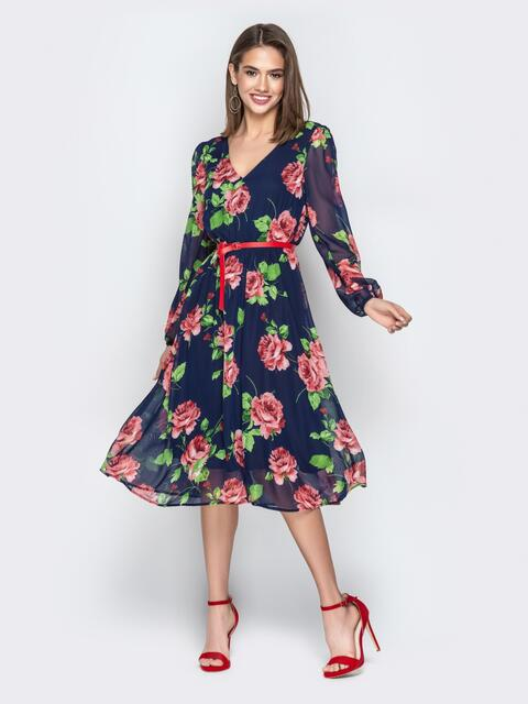 Шифоновое платье с цветочным принтом синее - 21007, фото 1 – интернет-магазин Dressa