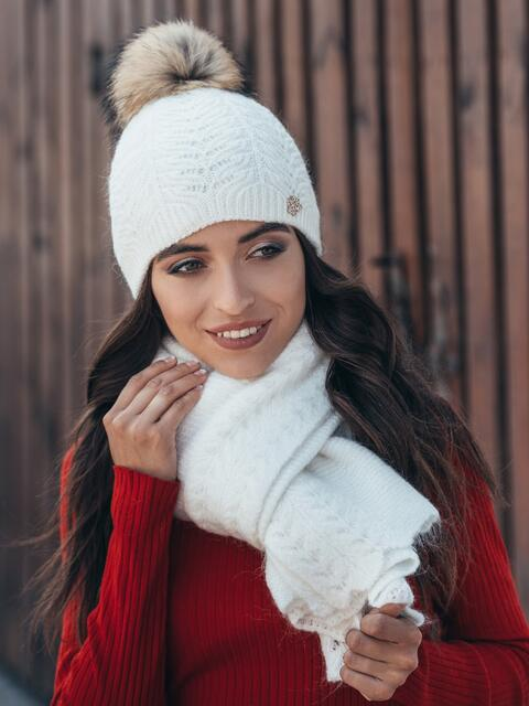 Белый комплект из шапки и шарфа-палантина - 14939, фото 1 – интернет-магазин Dressa