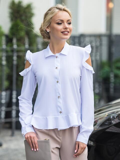 Блузка с воланом понизу и открытыми плечами белая - 14122, фото 1 – интернет-магазин Dressa