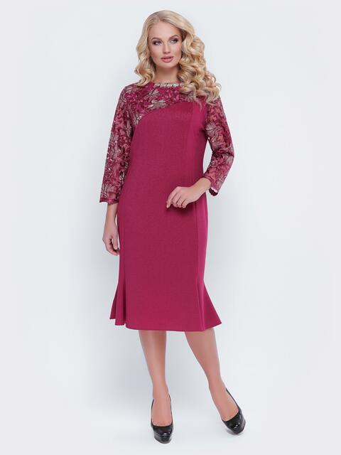Бордовое платье с гипюром и фурнитурой на горловине - 19123, фото 1 – интернет-магазин Dressa