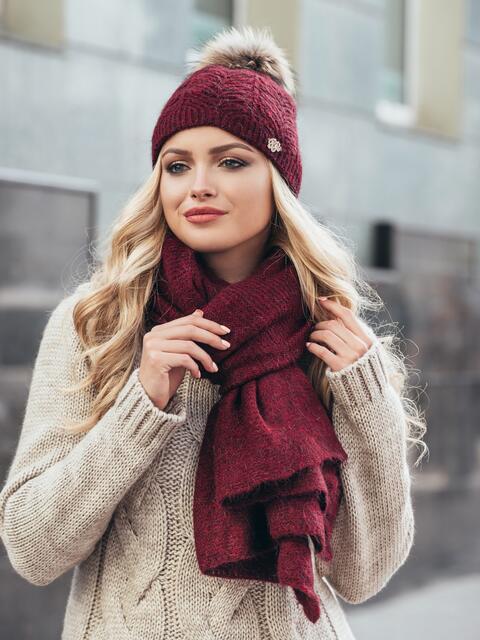 Бордовый комплект из шапки и шарфа-палантина - 14940, фото 1 – интернет-магазин Dressa
