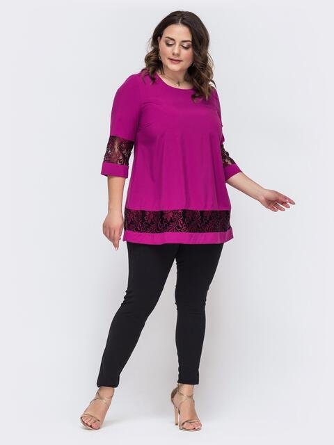 Комплект большого размера из кофты и брюк розовый 46169, фото 1