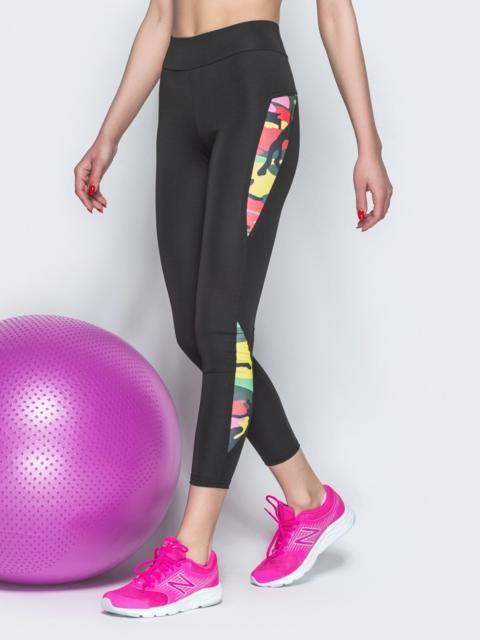 Спортивные лосины с контрастными вставками чёрные - 38791, фото 1 – интернет-магазин Dressa