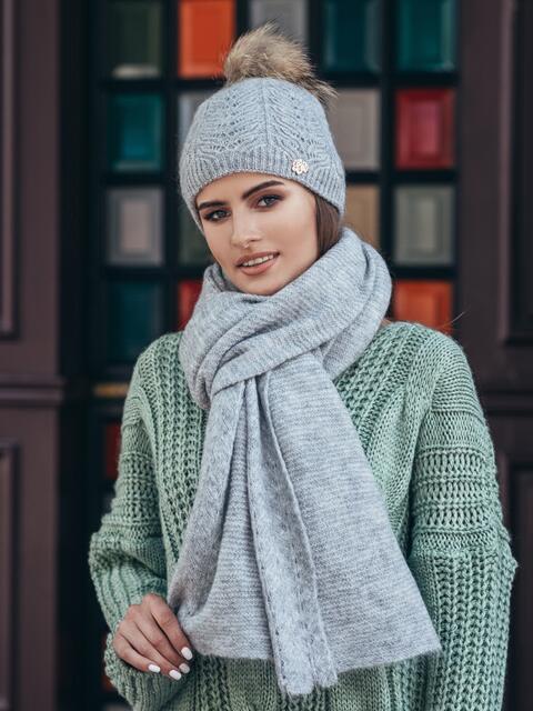 Светло-серый комплект из шапки и шарфа-палантина - 14938, фото 1 – интернет-магазин Dressa