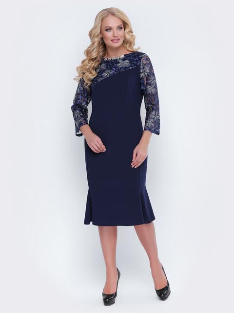 Тёмно-синее платье с гипюром и фурнитурой на горловине - 19124, фото 1 – интернет-магазин Dressa