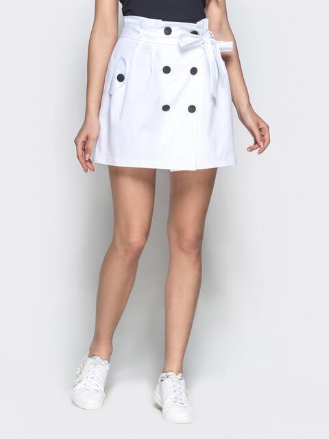 Юбка-мини белого цвета с завышенной талией - 21994, фото 1 – интернет-магазин Dressa