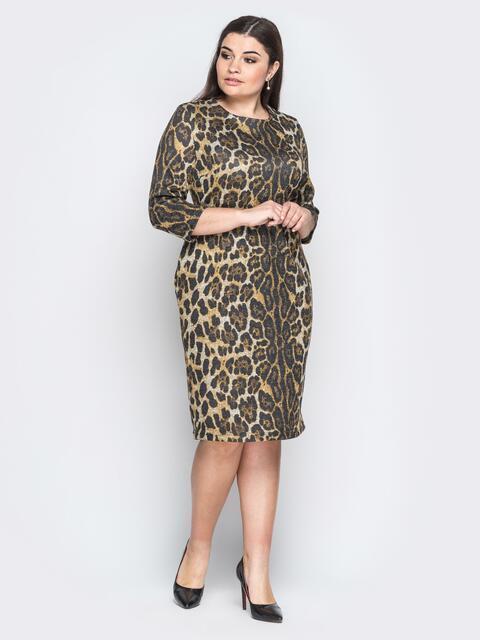 Ангоровое платье с леопардовым принтом коричневое - 18369, фото 1 – интернет-магазин Dressa