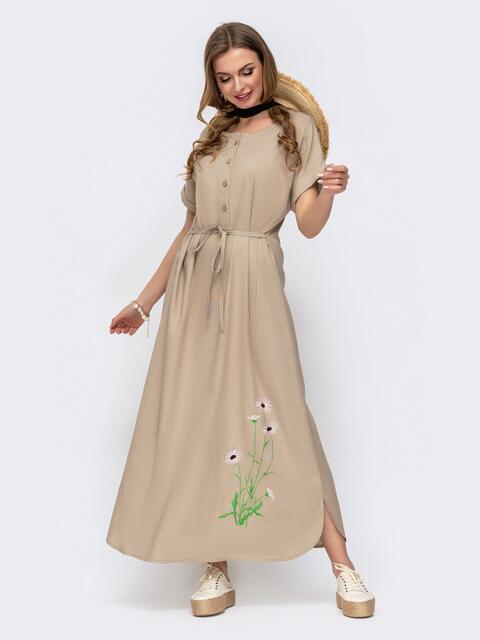 Бежевое платье-макси из льна с вышивкой 46737, фото 1