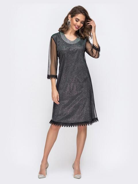 Чёрное платье приталентого кроя из люрекса и фатином 42869, фото 1
