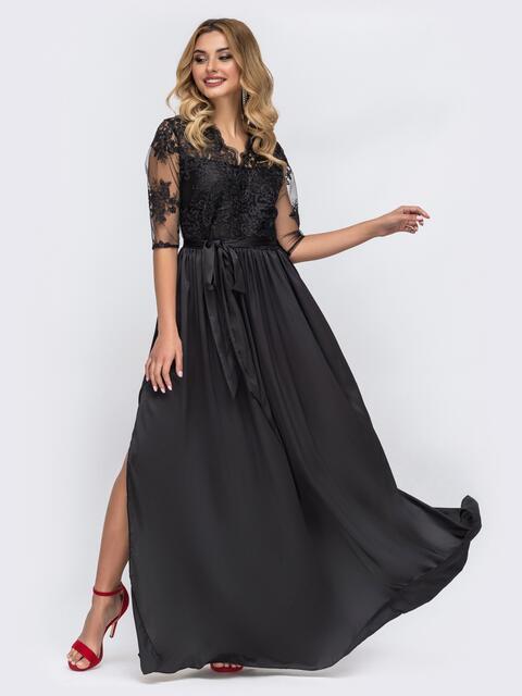 Чёрное платье расклешенного кроя с кружевным верхом 43153, фото 1