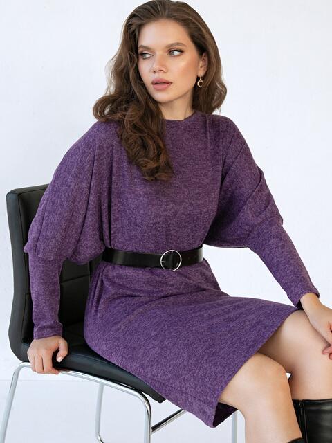 """Фиолетовое платье батал с рукавом """"летучая мышь"""" 51289, фото 2"""