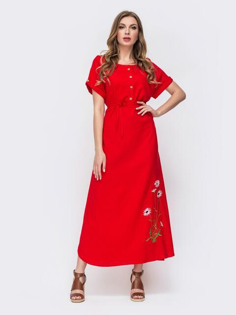Красное платье-макси из льна с вышивкой 46736, фото 1