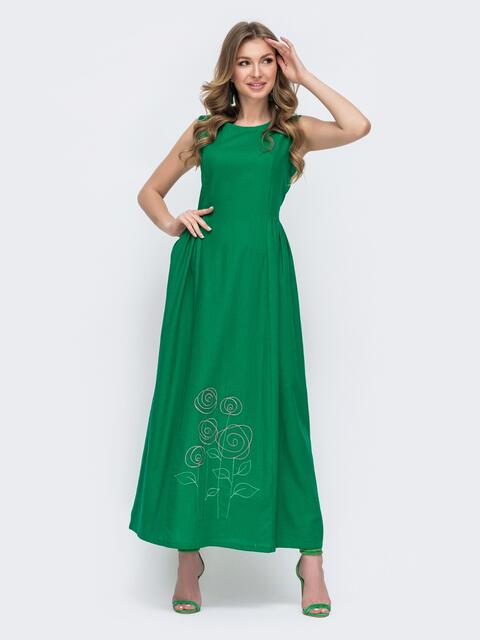 Льняное платье приталенного кроя с вышивской по низу зеленое - 46739, фото 1 – интернет-магазин Dressa