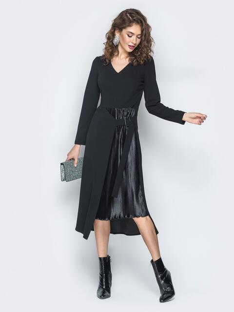 Платье из креп-дайвинга с плиссированной вставкой черное - 18745, фото 1 – интернет-магазин Dressa