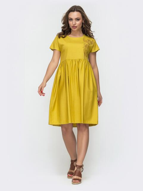 Платье из льна желтого цвета с вышивкой 46735, фото 1