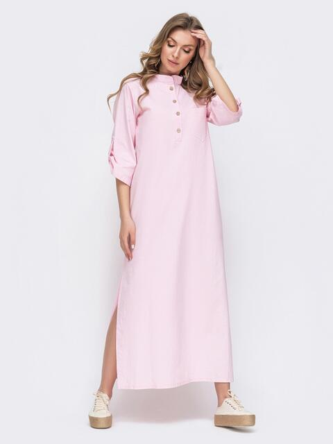 Платье-макси из льна с разрезами по бокам розовое 46745, фото 1