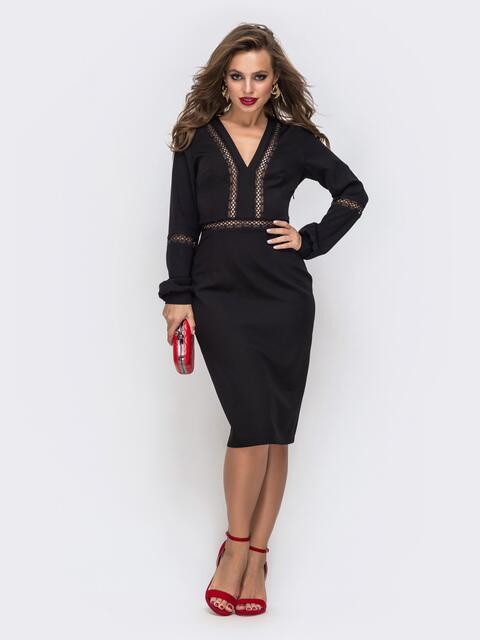 Платье-миди с V-вырезом и перфорацией чёрное 43047, фото 1