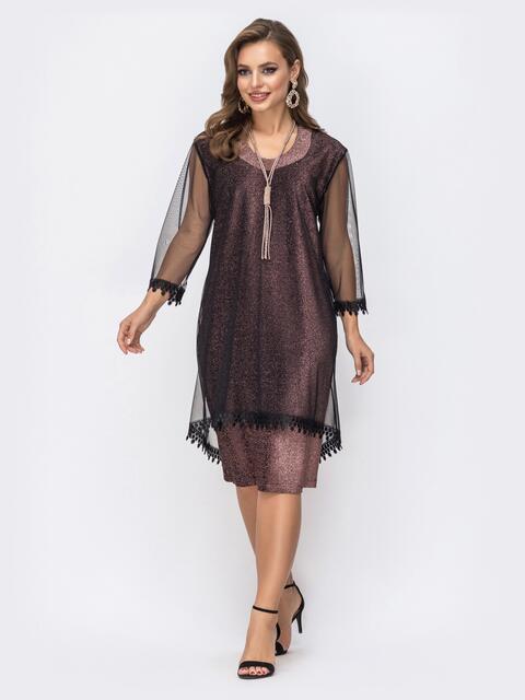 Приталенное платье из люрекса с фатиновым чехлом коричневое 42866, фото 1