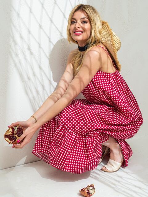 Сарафан в красную клетку с воланом по низу - 46759, фото 1 – интернет-магазин Dressa