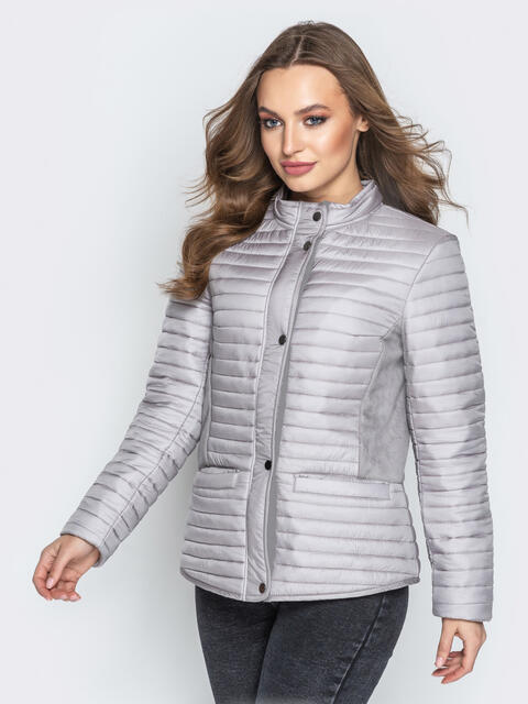 Серая куртка с велюровыми вставками и карманами 20304, фото 1