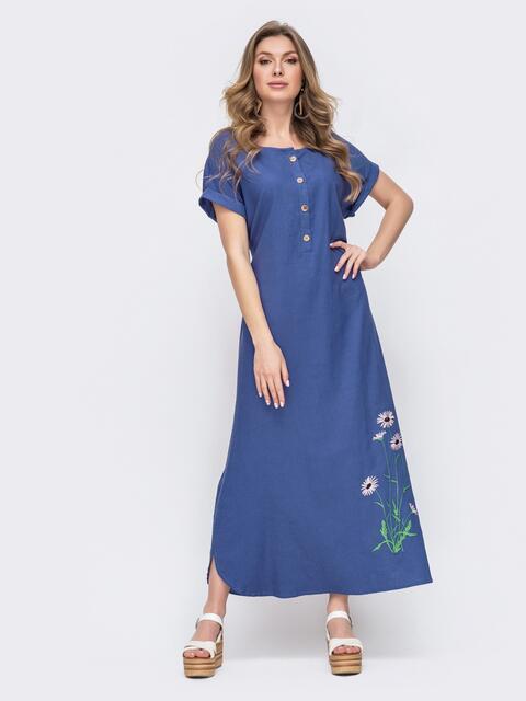 Синее платье-макси из льна с вышивкой 46738, фото 1