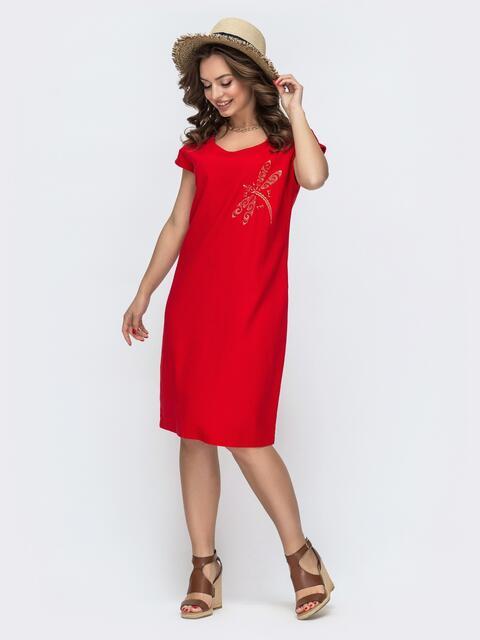 Свободное платье-миди из льна с вышивкой красное 46749, фото 1
