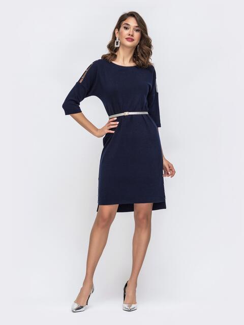 Трикотажное платье батал с удлиненной спинкой тёмно-синее 42798, фото 1