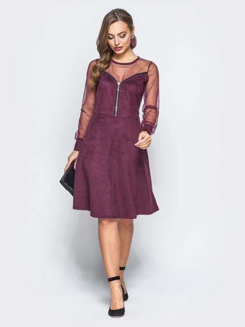 Замшевое платье бордового цвета с функциональной молнией - 18226, фото 1 – интернет-магазин Dressa