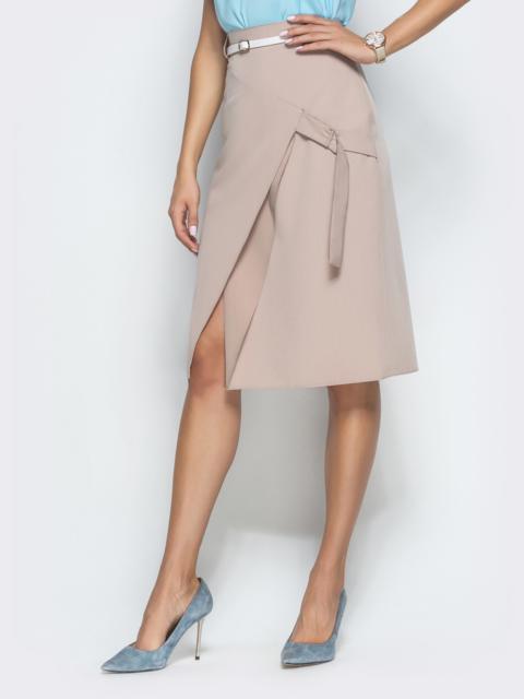 Бежевая юбка-трапеция с разрезом - 38361, фото 1 – интернет-магазин Dressa