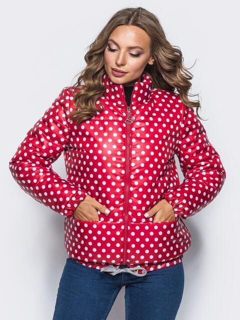 Красная куртка в горох с карманами и кулиской по низу - 15648, фото 1 – интернет-магазин Dressa