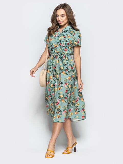 Мятное платье-рубашка с принтом и коротким рукавом - 22241, фото 1 – интернет-магазин Dressa