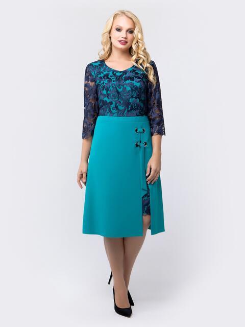 Платье бирюзового цвета с верхом из гипюра - 18465, фото 1 – интернет-магазин Dressa
