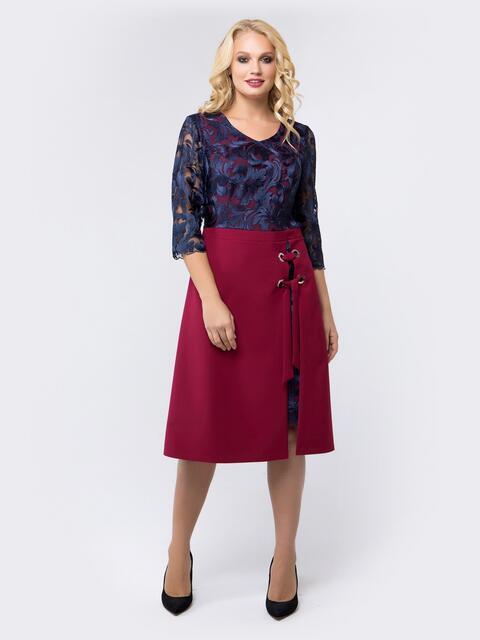 Платье бордового цвета с верхом из гипюра - 18466, фото 1 – интернет-магазин Dressa